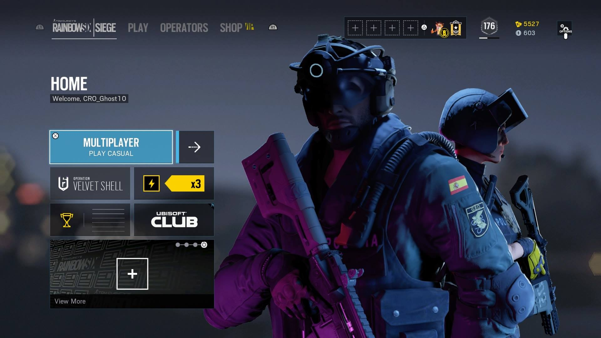 Rainbow Six Siege Menu